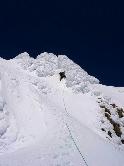 Jae E. leading the steep...