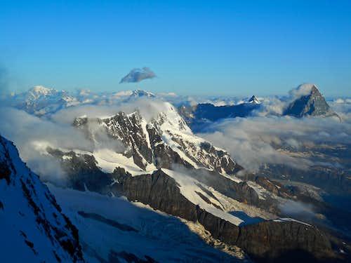 Briethorn with Mont Blanc and Matterhorn
