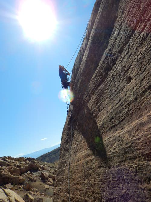 Climbing at the Bullethole Cliff Band
