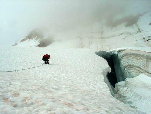On decent pass a crevasse...