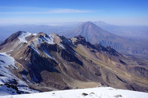 View from Chachani (6075m / 19.931 ft) towards El Misti Volcano