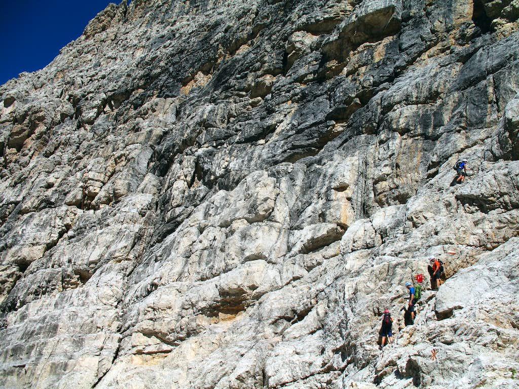 Alfredo Benini ferrata, South wall of Cima Sella.