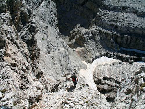 Alfredo Benini ferrata. Descending towards the Bocca del Tuckett