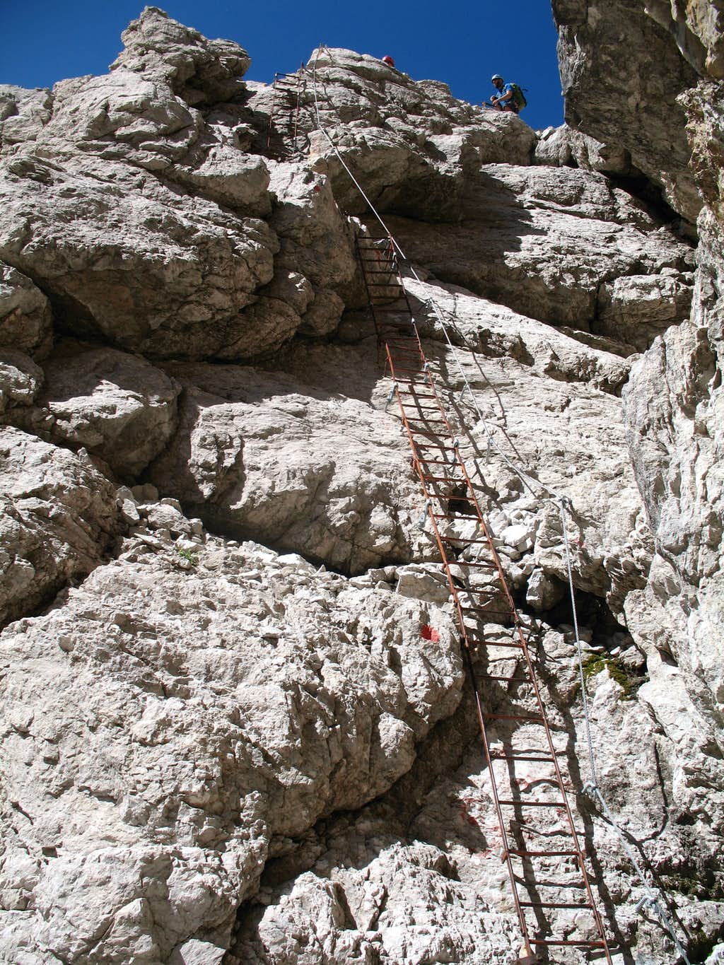 Alfredo Benini ferrata. Ladders on the south face of Cima Sella