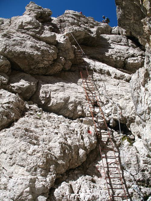 Alfredo Benini ferrata. Ladders on the south face of Cima Sella