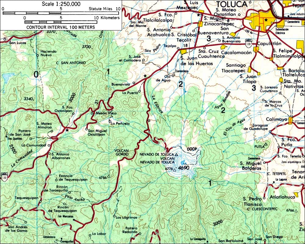 Area Map of Nevado de Toluca