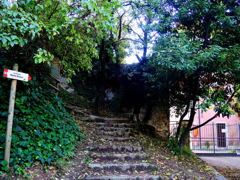 Staircase at the start of the path to Monte Brione