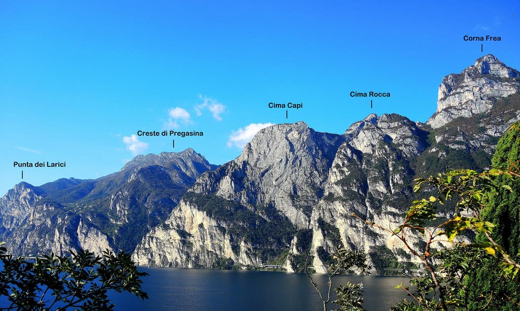 Western Garda summits annotated pano seen from Monte Brione