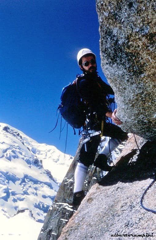 Back in the day on the route Rebuffat (1982) Aiguille du Midi S wall