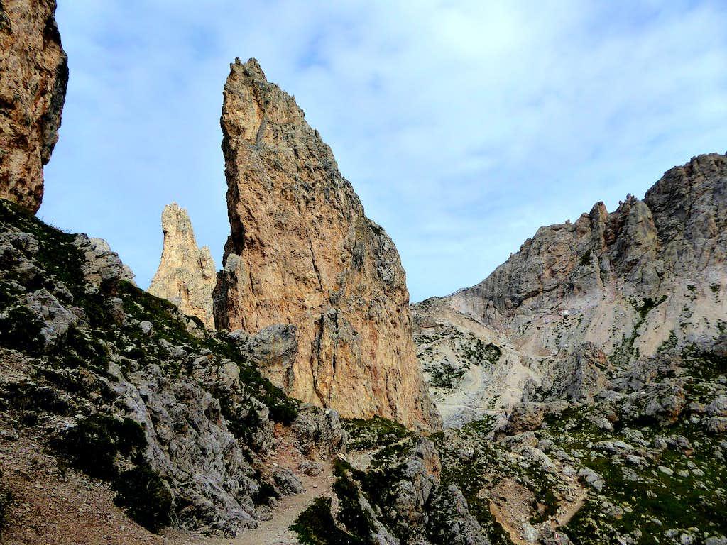 Bizarre pinnacle on the route to Sass de Ciampac