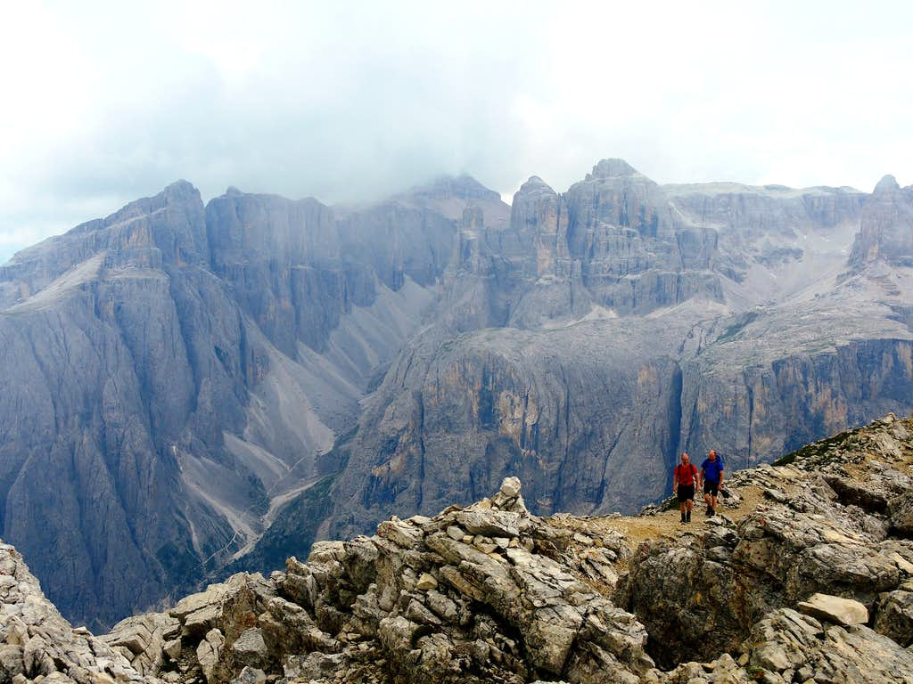 The deep Val di Mezdì and Sella Group seen from Sass de Ciampac