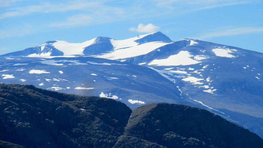 Galdhopiggen as seen from Lomseggen