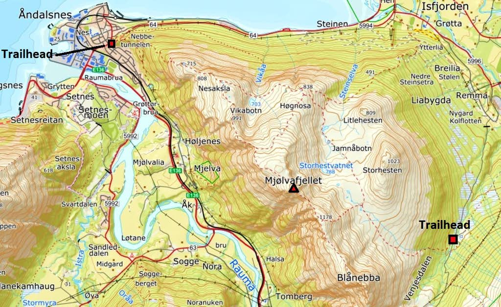 Map of Romsdalseggen and Mjølvafjellet