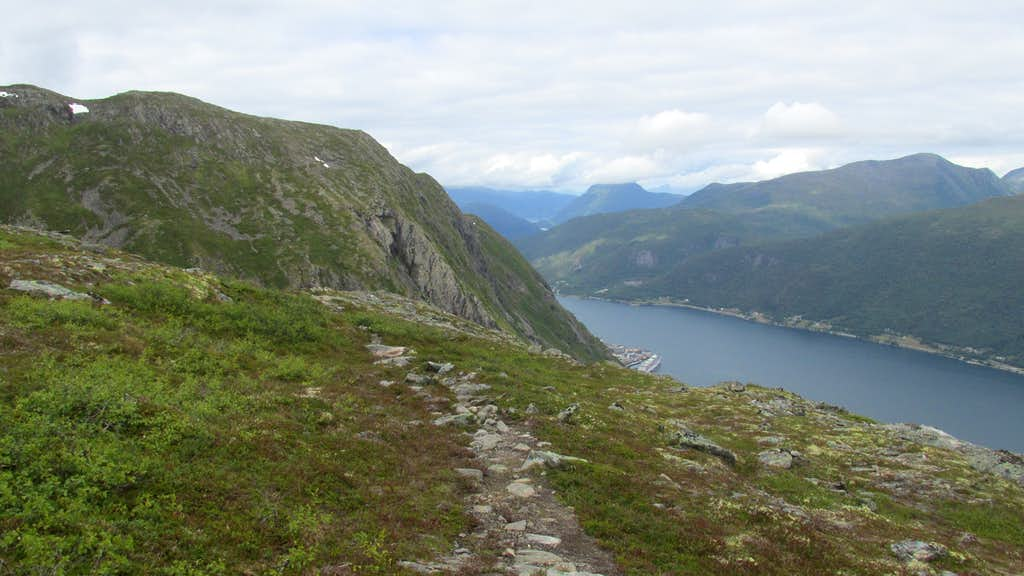 View of Isfjorden from the slopes of Mjolvafjellet