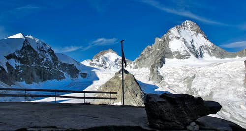 Morning view from the terrace of the Grand Mountet hut