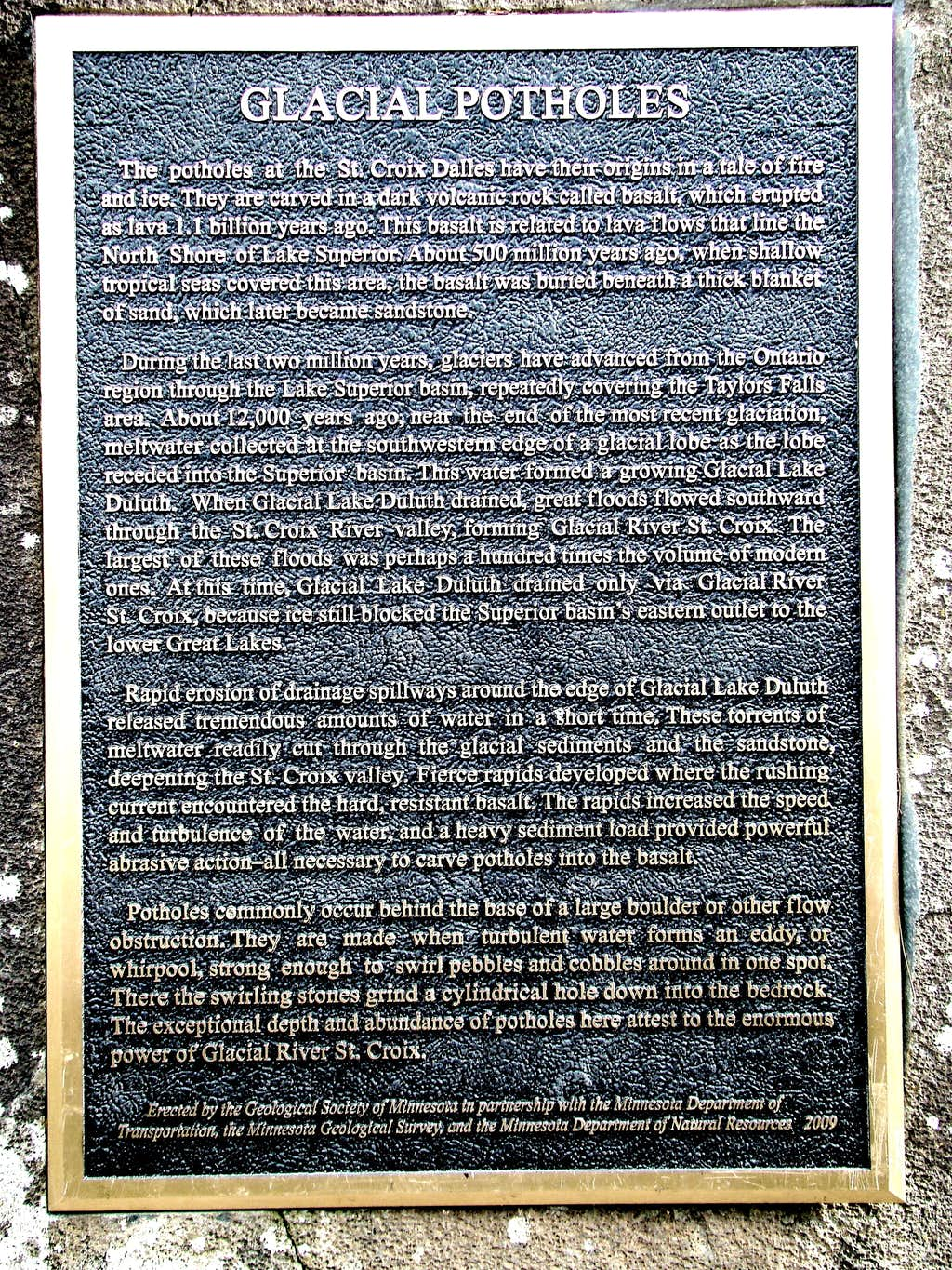 Potholes Information Plaque
