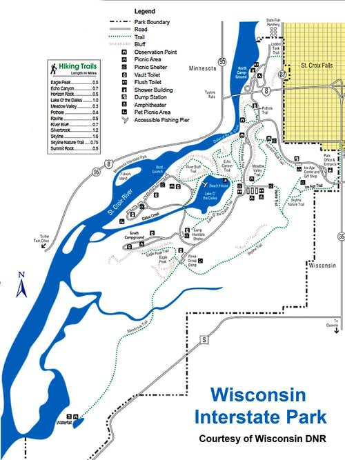 Wisconsin Interstate Park Map, Courtesy Wisconsin DNR