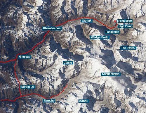Kangchenjunga satellite photo