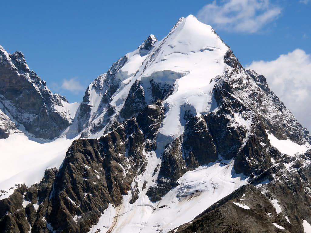 Slim silhouette of the summit Piz Roseg