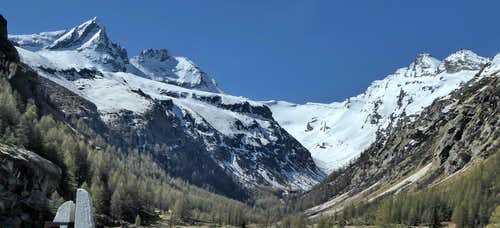 View from Pont in Valsavarenche of Vallone di Seiva and surrounding summits