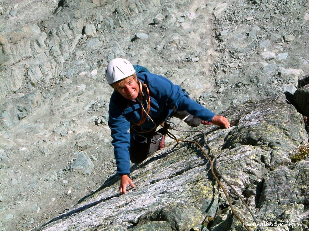 Funny climb on the route Tempi Moderni, Punta Udine