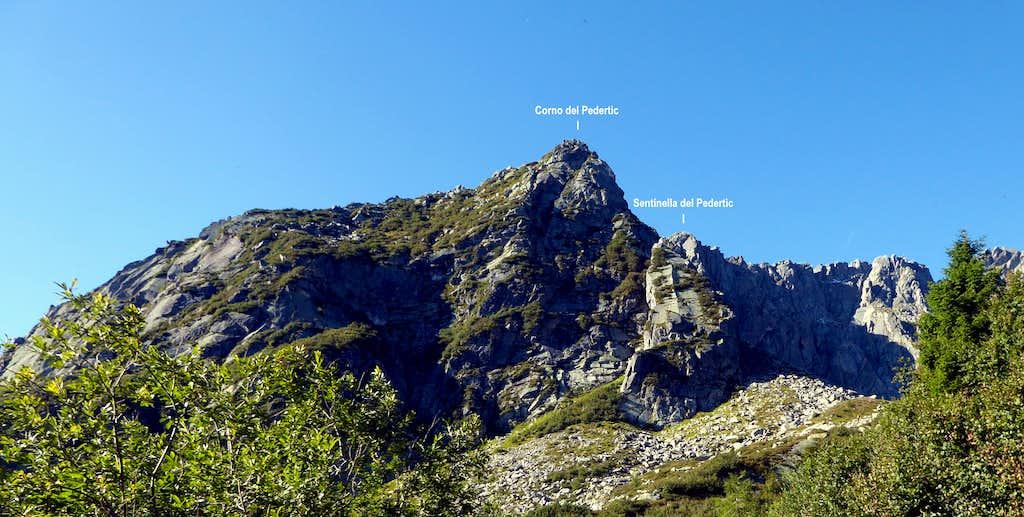 Corno and Sentinella del Pedertìc annotated view