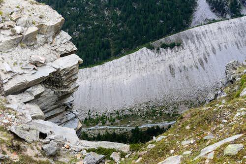 Europaweg: talus wall over Riedbach