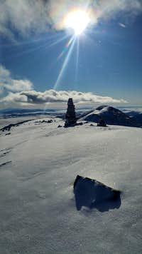 Sun shining on Bald Mtn.