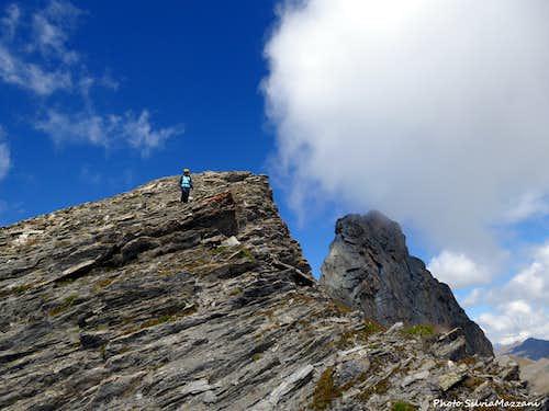 Italy-France border ridge and Roc de la Niera