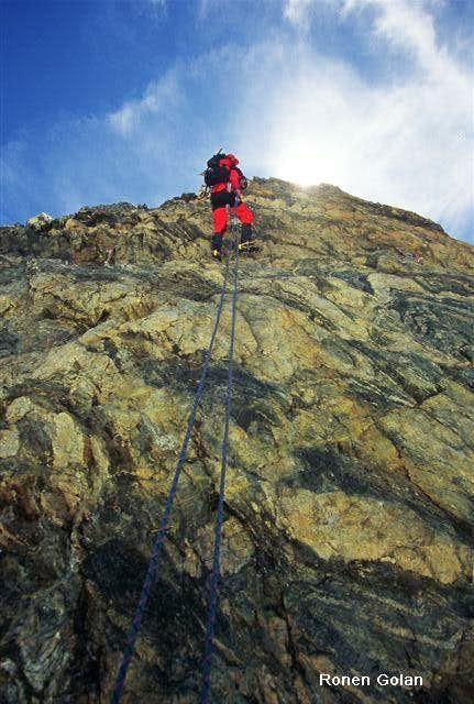 Abseiling the pyramid summit....