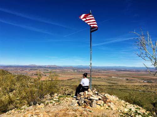 American flag at the summit