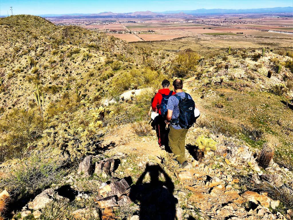Descending the summit ridge trail