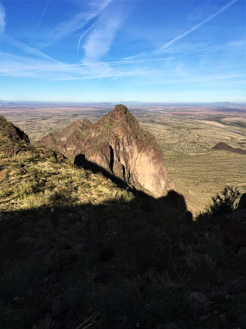 View down to Razorback Ridge from high up on Picacho Peak