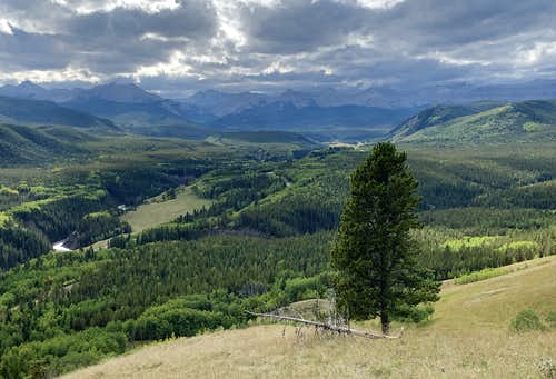 The Sheep River valley from Windy Point Ridge