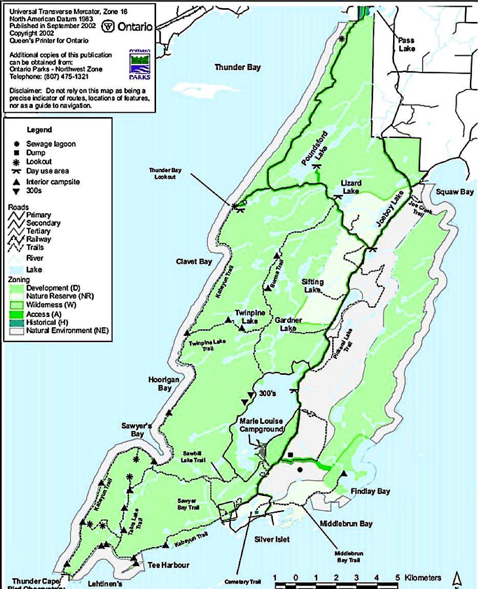 Sleeping Giant Provincial Park Map, courtesy Ontario Parks