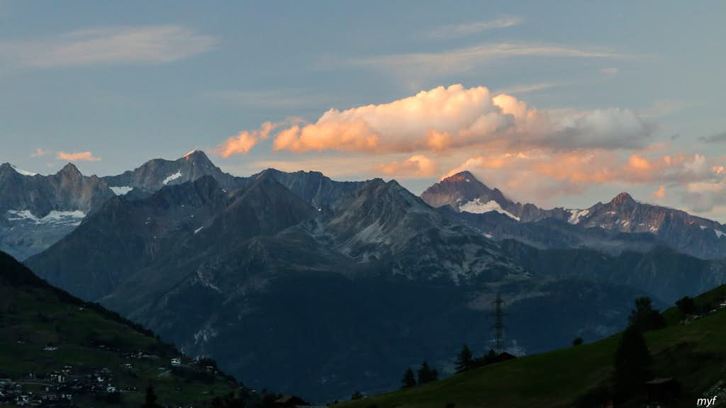 Aletschhorn and Finsteraarhorn (Bernese Alps) at Dusk