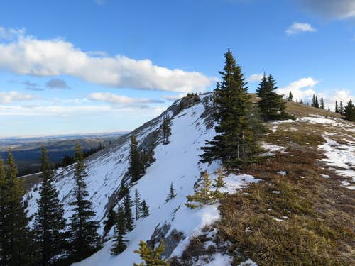 Looking up the final stretch of Prairie Mountain's north ridge (west ridge route)