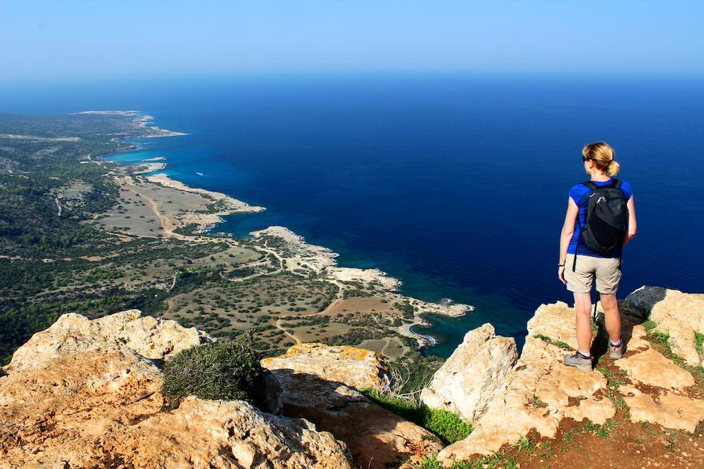Blue Mediterranean views. Summit of Moutti tis Sotiras (370m)