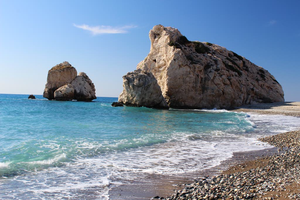 Blue Mediterranean views. Petra tou Romiou