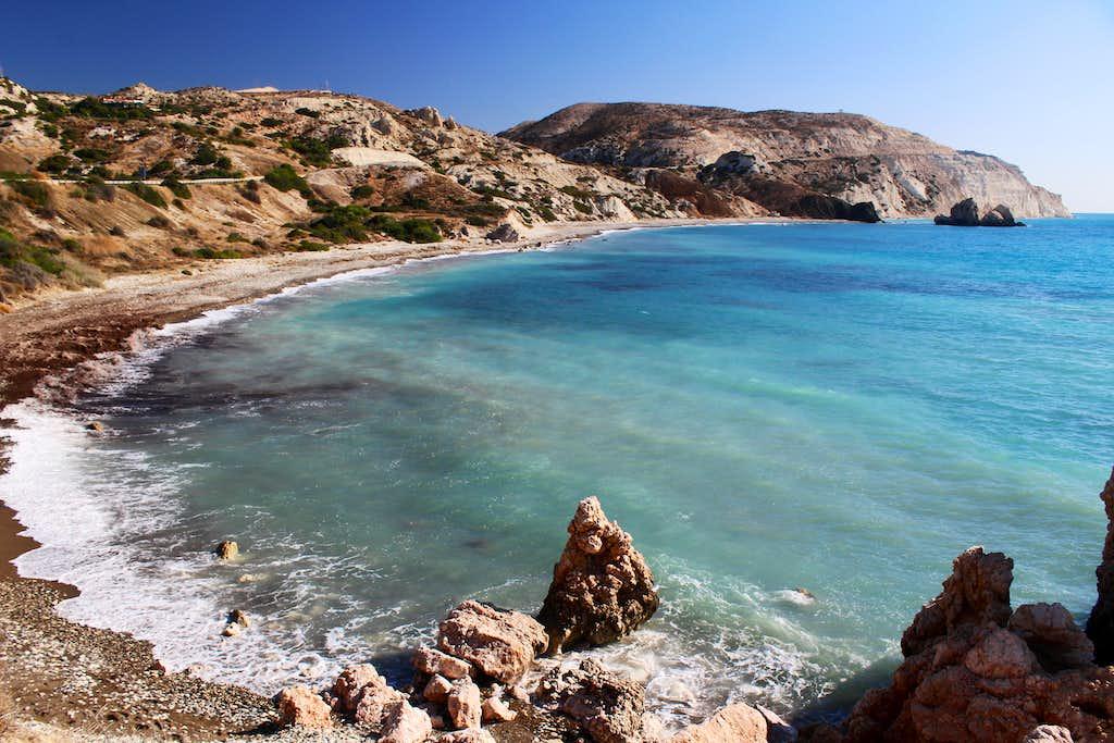 Blue Mediterranean views. Petra tou Romiou