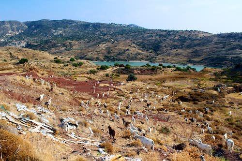 Blue Mediterranean views. Mavrokolymbos resevoir.