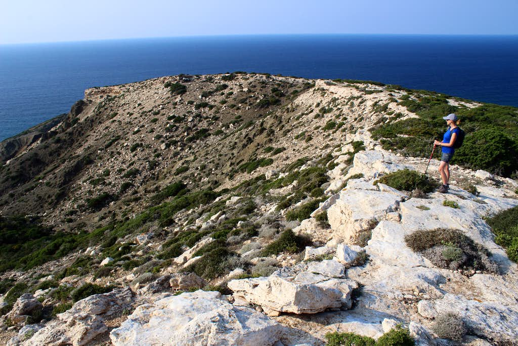 Blue Mediterranean views. Cape Arnaoutis, looking west.