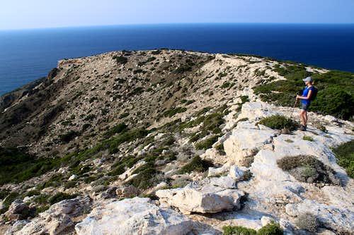 Blue Mediterranean views. Cape Arnaoutis, looking west.