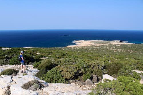 Blue Mediterranean views. Cape Arnaoutis, looking East.