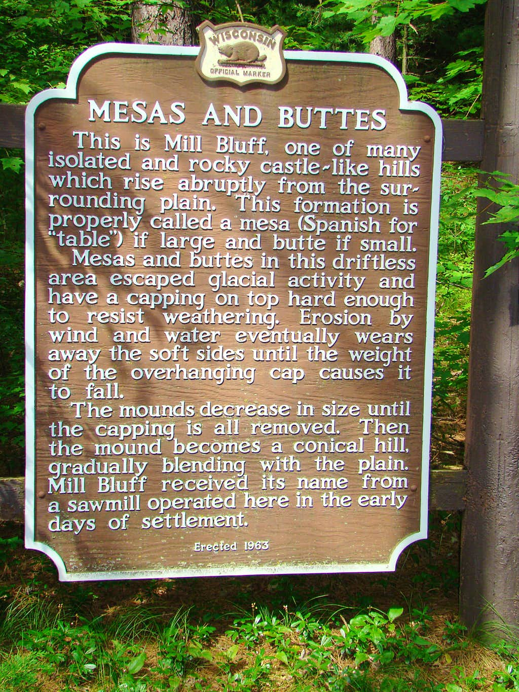 Mesa and Butte Sign at Mill Bluff