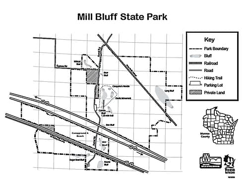 Mill Bluff State Park Map, courtesy Wisconsin DNR