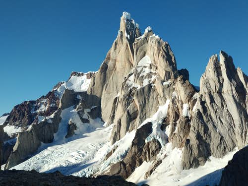 View of Cerro Torre from the base of Fitz Roy east face