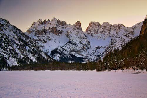 Piz Popena and Monte Cristallo on a winter evening