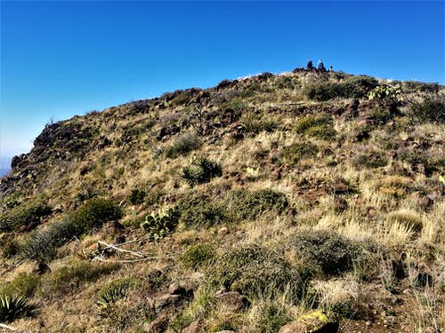 Looking back up at the summit