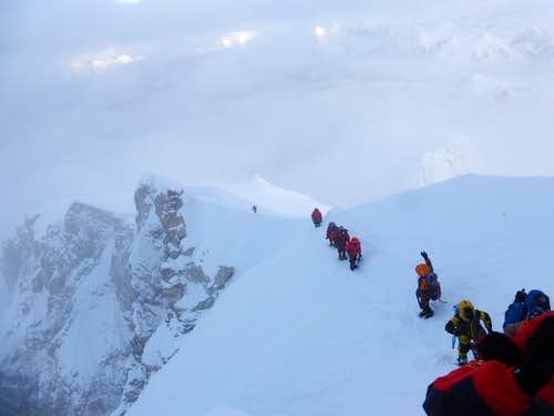 Ascending to the Summit of Manaslu, a Line of Oxygen